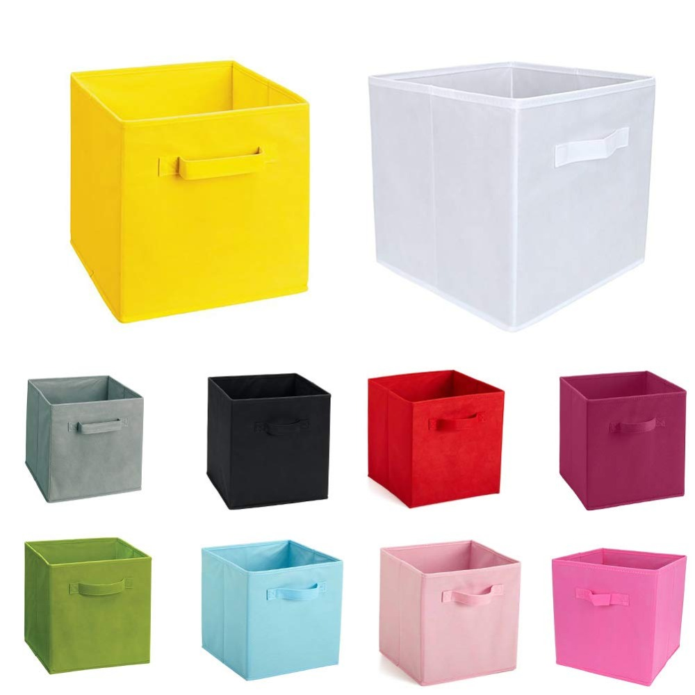 Folding Clothes Storage Box with Handle Made with Non Woven Fabric for Wardrobe