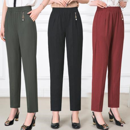 2019 New Women Spring/Summer High Waist Pants Ankle-Length Loose Casual Elastic Waist Straight Trousers Plus Size 3XL 4XL 5XL Price $15.96