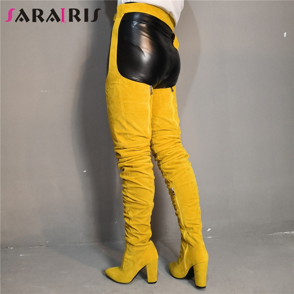 SARAIRIS Luxury Large Size 35-47 Sexy Long Boots Women Shoes Woman Party Chunky Heels Top Quality Over Leg BootsSARAIRIS Luxury Large Size 35-47 Sexy Long Boots Women Shoes Woman Party Chunky Heels Top Quality Over Leg Boots