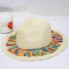SUOGRY New Fashion Summer Autumn Fringe Hats Big Brim Straws Sun Casual Caps Colorful Tassels Hat Holiday Beach Visor