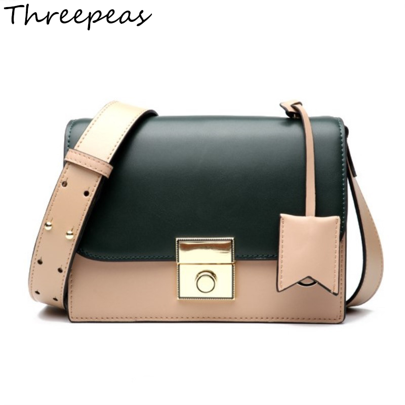THREEPEAS Genuine Leather Women Shoulder Bags Messenger Bags Fashion Small Flap Bags Lady Crossbody Bags Handbags genuine leather fashion women handbags bucket tote crossbody bags embossing flowers cowhide lady messenger shoulder bags