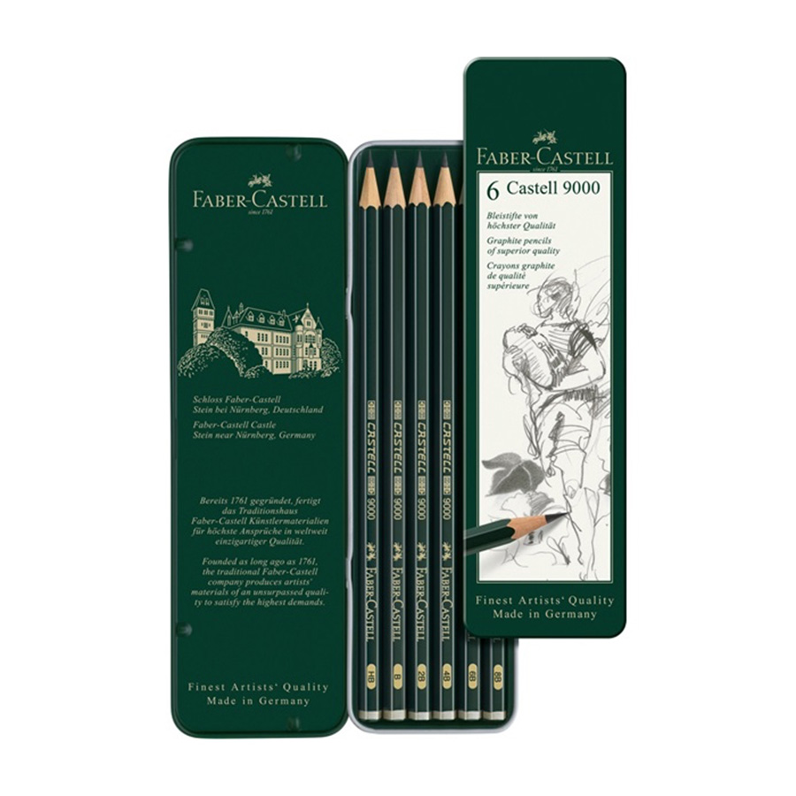 FABER CASTELL 9000 sketch pencil 6 tin set graphic design sketch pencil 119063 scribble scribble pen faber castell 25 pieces of pencil sketch sketch article carbon combination 112969