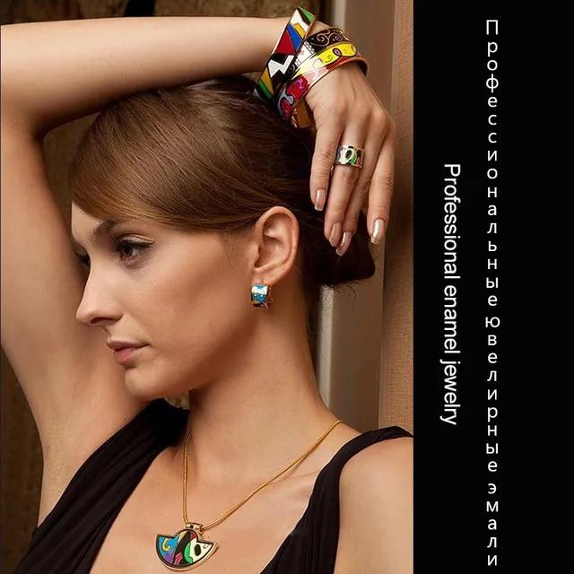 Brand Exclusive Beautiful Bague Femme Geometry Stripe Color Vintage Enamel Ring 0.8cm width Gilded Stainless Steel Rings for Wom