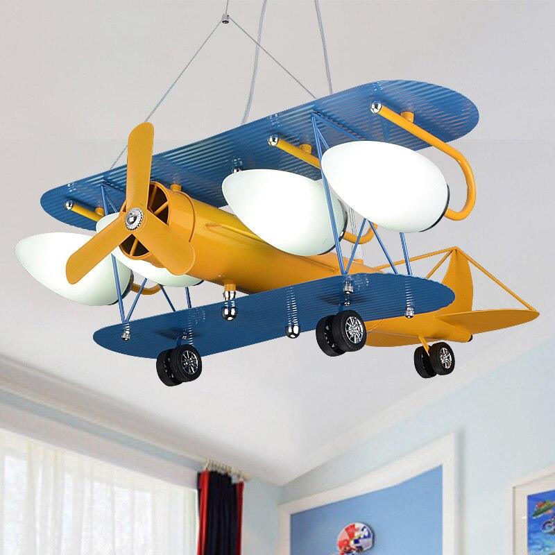 Creative retro children's aircraft pendant light bedroom ...