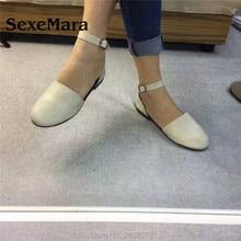 SexeMara New Handmade Women Genuine Leather Shoes college style soft Cowhide flat
