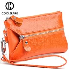 Купить с кэшбэком Fashion Genuine Leather Women Wallets Female Keychain Covers Zipper Lady Wallet Wristband Money Bag Key Holder Coin Purse PJ045