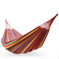 3 Sizes Outdoor Hammock Outdoor Sports Home Travel Camping Swing Canvas Stripe Hang Bed Single Double
