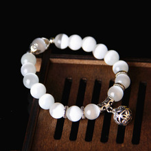 Health Care Weight Loss Magnet White Cat Eye Beads Bracelet with Lucky Pendant T