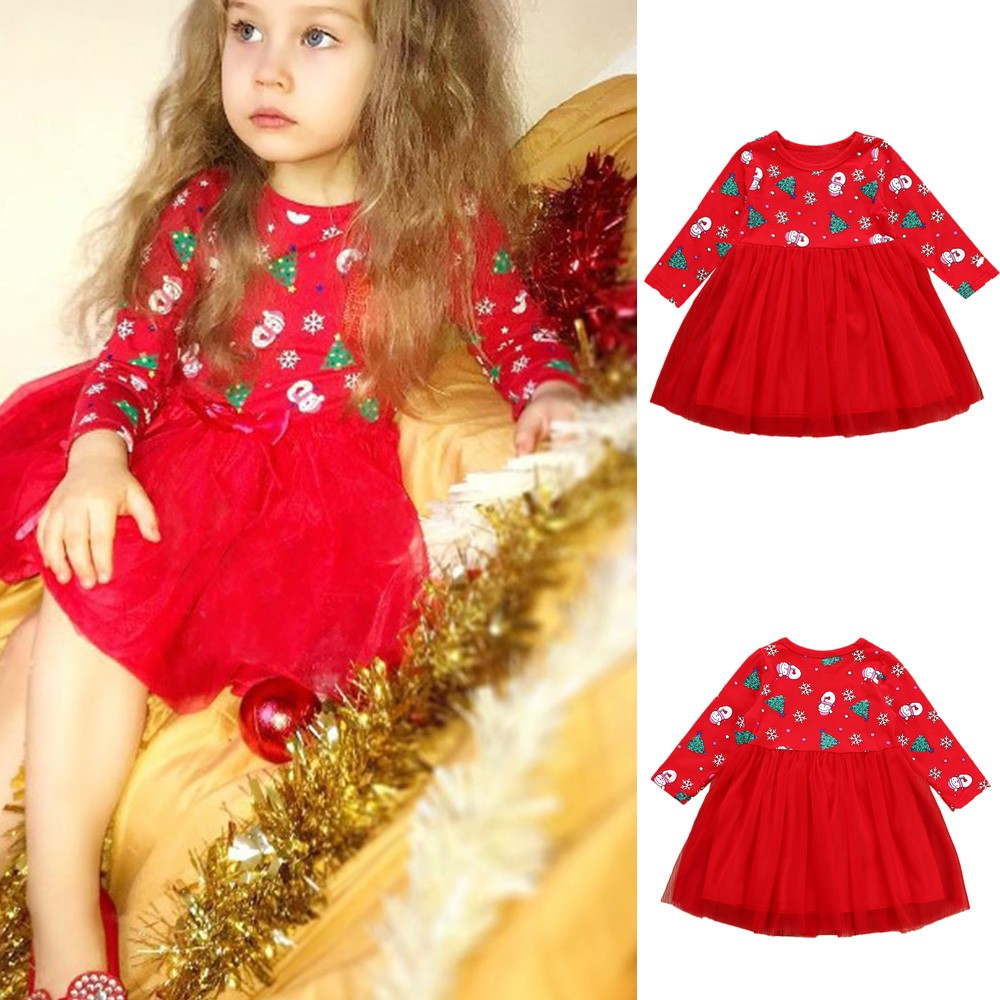 ARLONEET Christmas Clothes Dress Girls Baby Kids Print Cartoon Snowman Red Fashion Cotton Dress For Xmas New Year
