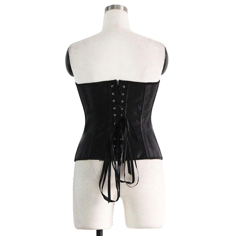 97158f77b94 2019 Women Sexy Black Sequin Zipper Overbust Corsets Lingerie Faux ...