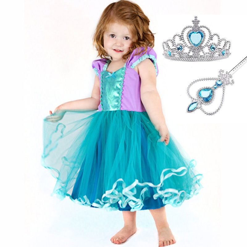 My Girls Mermaid Dresses with Pearl Children Halloween Little Mermaid Ariel Cosplay Costumes for Kids Carnival Party Dress free shipping custom cheap pink the little mermaid ariel princess dress for dance party cartoon cosplay costume