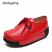 dobeyping New Spring Autumn Woman Shoes Cow Leather Flat Platform Women Shoe Lace Up Womens Loafers Moccasins Female Sneakers