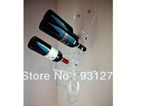3pcs Free Shipping Wall Amounted Acrylic Wine Rack Crystal Blue Acrylic Wine Bottle Holder Wine