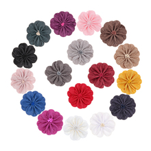 Yundfly 5pcs 3.2 Satin Fabric Flowers with Match Stick Center Old Wrinkles for Diy Headband Clips Hair Accessories