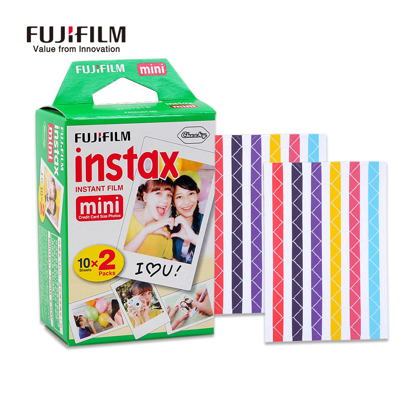Fujifilm Instax Mini 8 Camera Film 20 Sheets with 2 pcs photo Corner stickers for fuji Instant mini8 7s 25 50 Camera Accessories