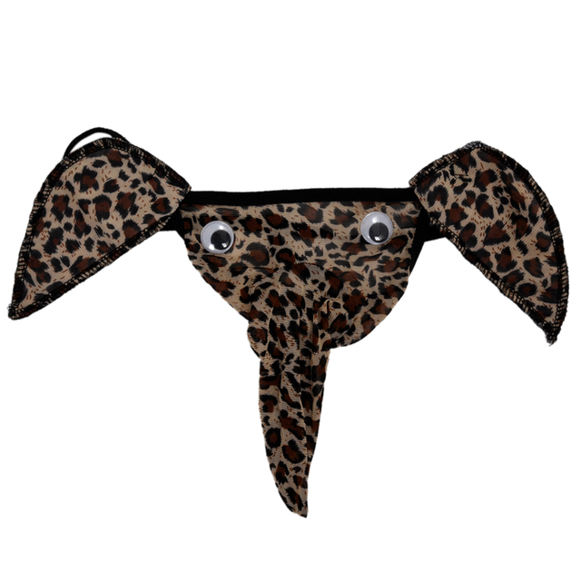 dabd3b111d67 Sexy Men Elephant Underwear Pouch Briefs Thongs Funny G-string-Leopard