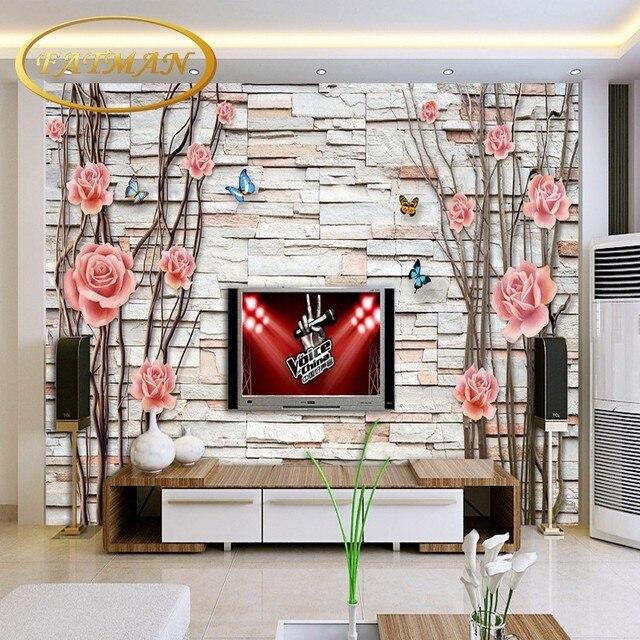 Individuelle Fototapeten Baum Blumen 3D Raum Fernsehhintergrund Dekoration  Kaffee Haus Lobby Tapete Wandbild