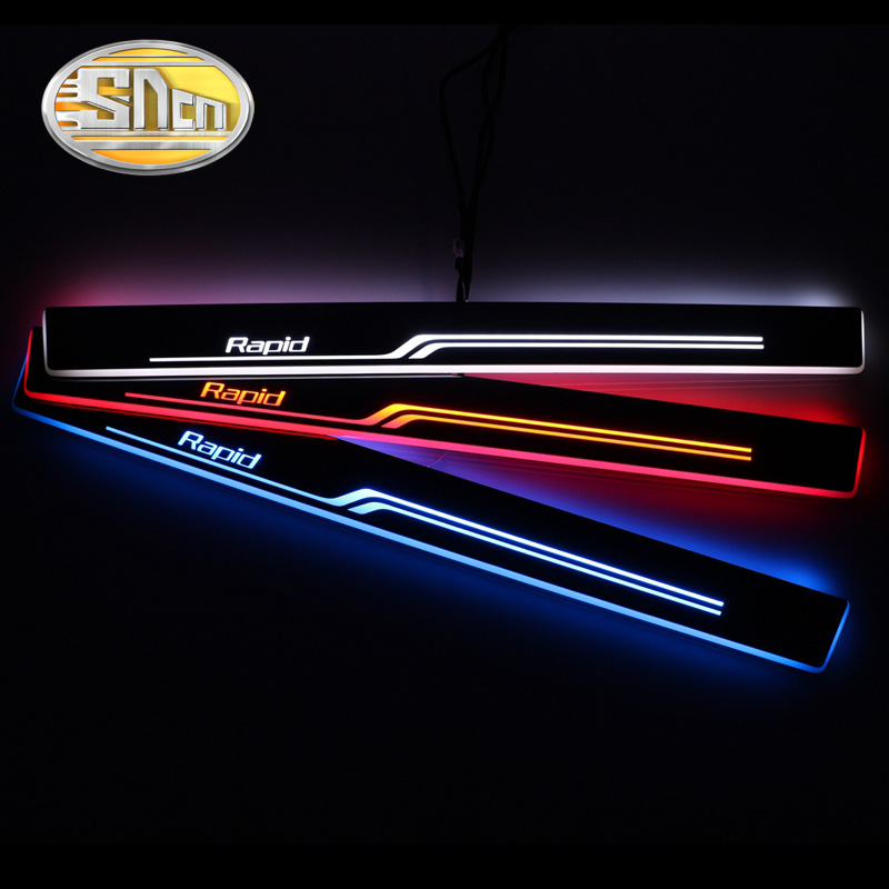 SNCN 4PCS Acrylic Moving LED Welcome Pedal Car Scuff Plate Pedal Door Sill Pathway Light For Skoda Rapid 2015 2016 2017 2018 2pcs car led moving light front door sill guards stainless steel scuff plate welcome pedal for audi a3 s3 2014 2015 dc 12v
