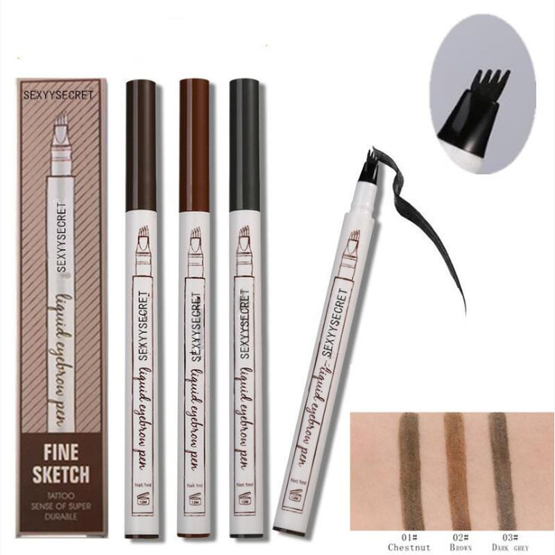 4 farben <font><b>Microblading</b></font> Augenbraue Tattoo Stift 4 Kopf Feine Skizze Flüssigkeit Make-Up Bleistift Wasserdicht Tattoo Eye Brow <font><b>Pen</b></font> Wisch- beweis image
