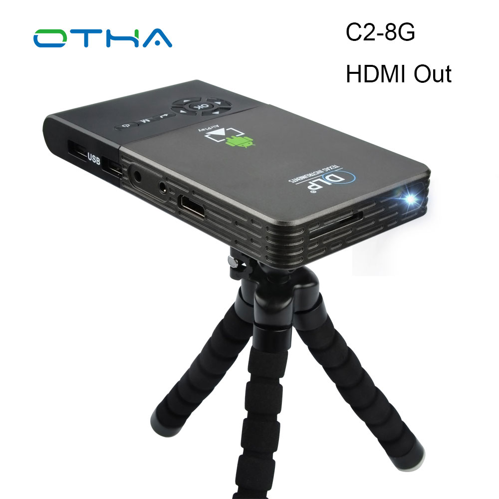 OTHA 100 ANSI Lumen Mini Projector Full HD for Android 4.4 WiFi Bluetooth Smart DLP 1080P Home Beamer Support AirPlay Miracast