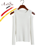 ArtSu Cashmere Sweater Women Sexy Cut Off Shoulder Pullover 2017 Winter All Match Long Sleeve Knitted