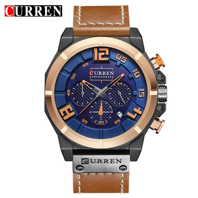 CURREN 8287 Mens Watches Top Brand Luxury Chronograph Quartz watches Men 24 Hour Date Men Sport Leather Wrist Watch Clock Saat цена