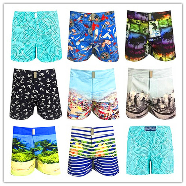 2019 Brand Vilebre Beach Board Short Turtle Men Swimwear 100% Quick Dry Male Boardshorts Sexy Bermuda Mens Bathing Shorts M-XXXL
