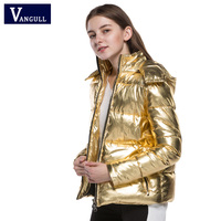2018 Vangull new winter sweet lady style gold color casual high quality hot sell warm solid thick jacket coat outwear for woman