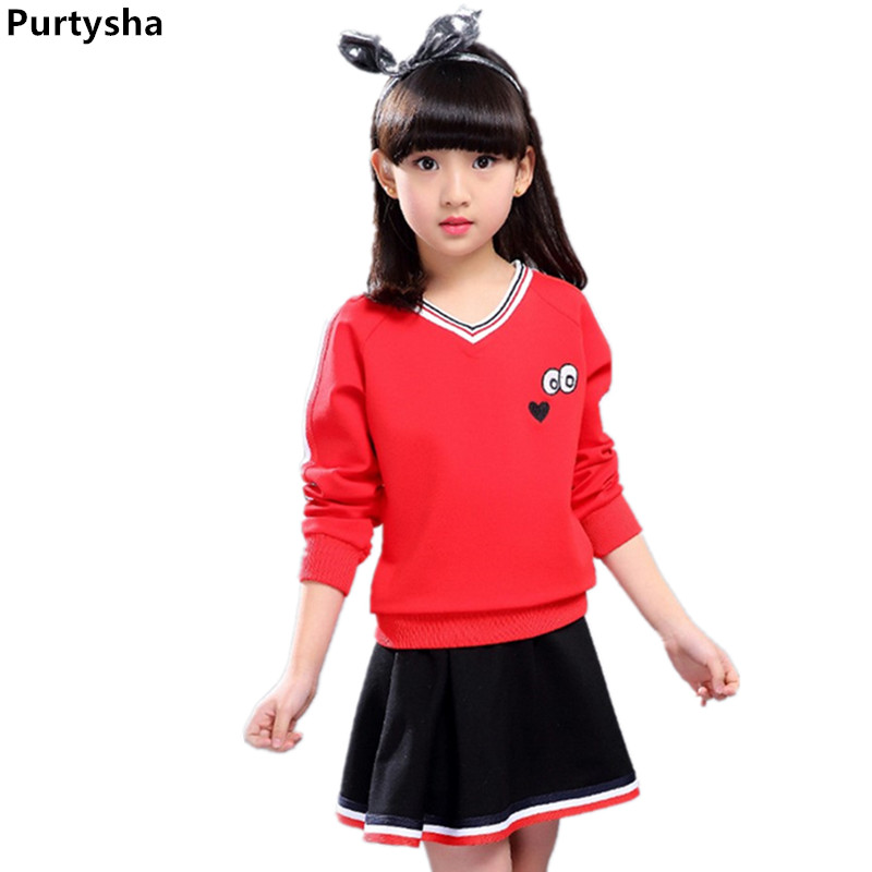 Girls Clothing Sets Spring Autumn Korean Kids Long Sleeve Cartoon Eyes Hoodie & Skirt Suit Two-piece School Uniform 10-12 Years autumn winter girls children sets clothing long sleeve o neck pullover cartoon dog sweater short pant suit sets for cute girls