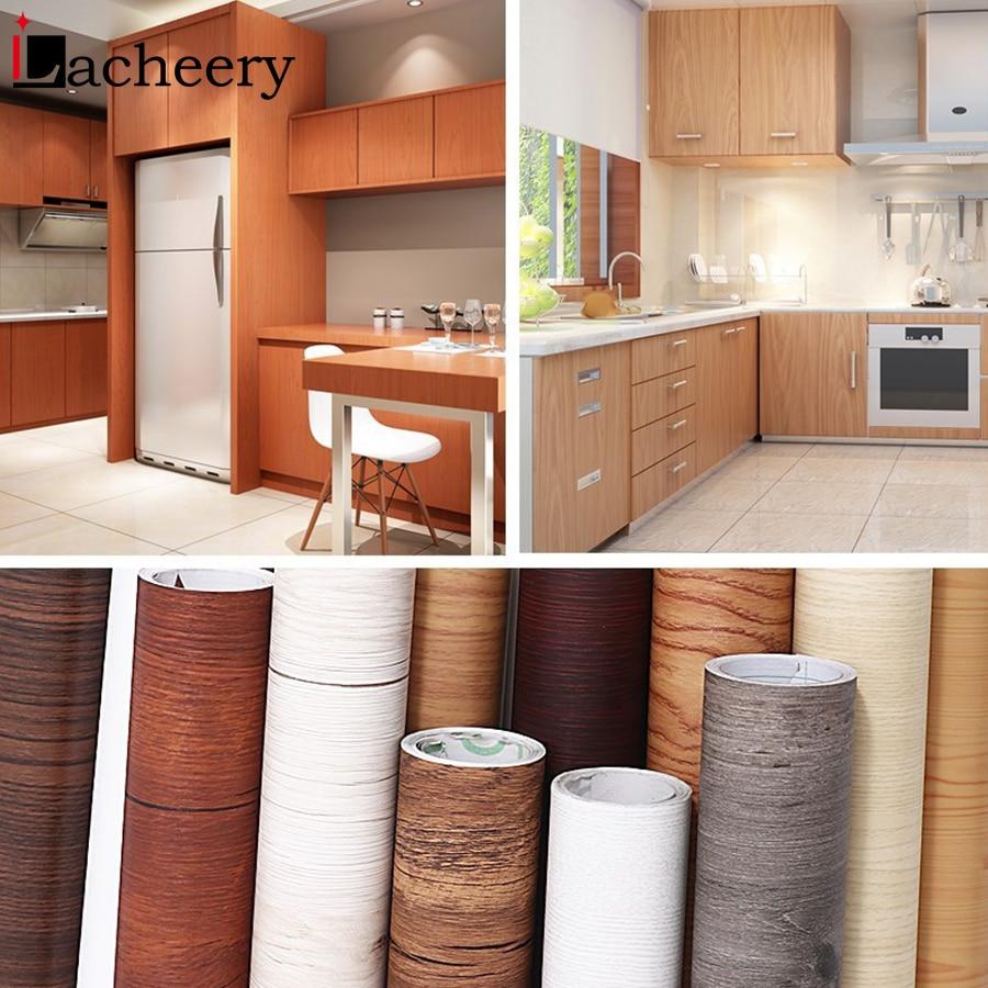 1M/2M Waterproof Wood Vinyl Wallpaper Roll Self Adhesive Contact Paper Doors Cabinet Desktop Modern Furniture Decorative Sticker