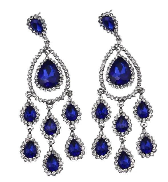 Austrian Crystal Rhinestone Long Dangle Flower Teardrop Bridal Earrings Wedding Jewelery for Women Bridesmaid Silver Black Blue