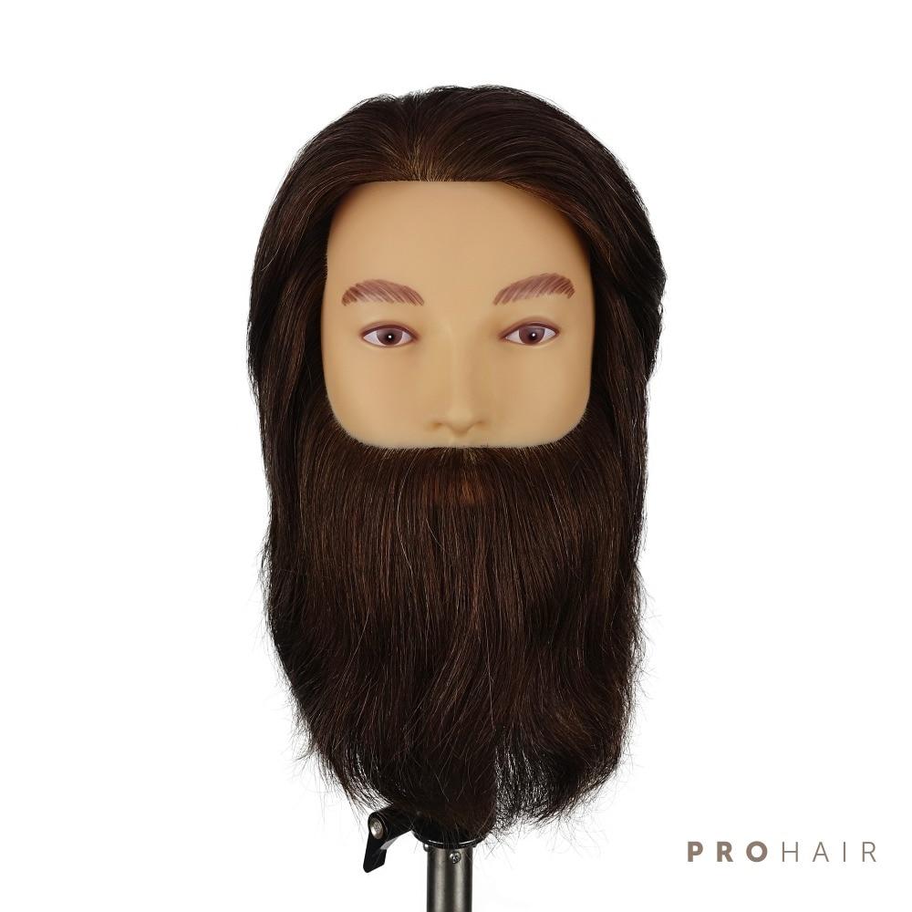 PROHAIR 25CM 10 100 Human Hair Dark Brown Training Head Salon Male Mannequin Head Hairdressing Practice