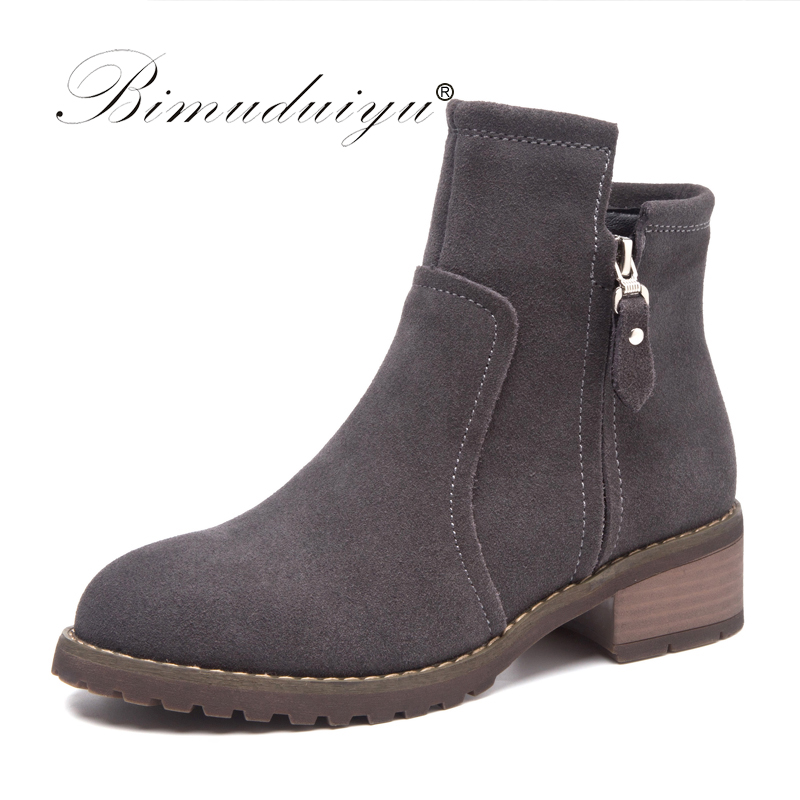 BIMUDUIYU Brand Autumn Women Short Martin Boots Genuine Nubuck Leather Ankle Boot Fashion Winter Warm Medium Heel Femmes Shoes