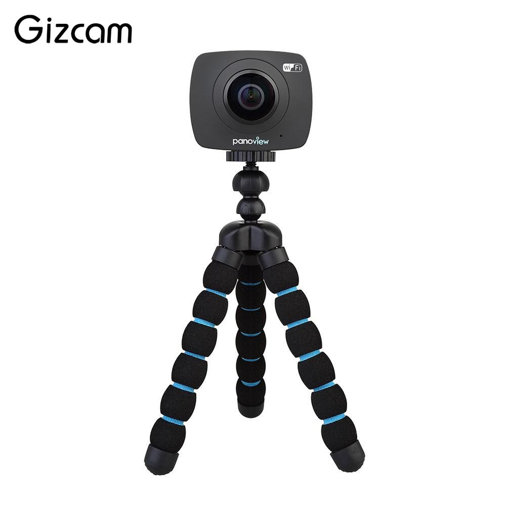Gizcam 360 degree Panoramic WiFi F2.0 Dual Lens 5.0MP Video Camera Camcorders Support VR TF Card gizcam 30m underwater waterproof 360 degree panoramic video camera camcorder ultra hd with waterproof accessories