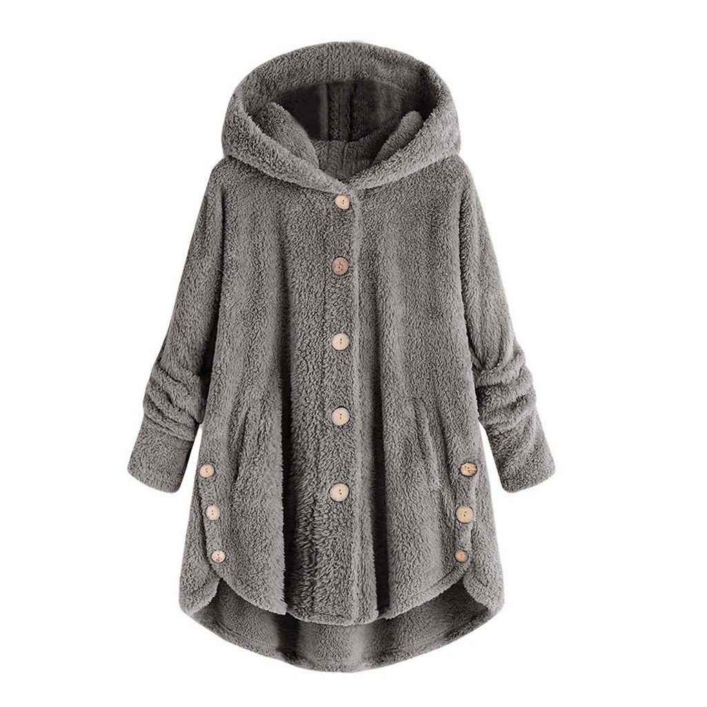 Orderly Hot Fashion Design High Quality Women Button Coat Fluffy Tail Tops Hooded Pullover Loose Blouse Coat Women Winter New Distinctive For Its Traditional Properties