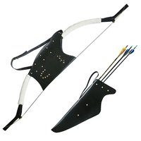 Hunting Bow and Arrow Case Set Leather Waist Belt Archery Arrow Quiver Recurve Bow Case Bag