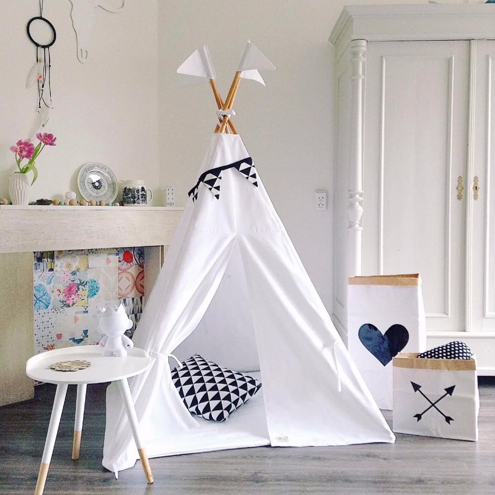Pure White Teepee Kids Play Tent Childrens Teepees Canvas Teepee Tent Tipi for Sale kids teepee tipi tent for kids white children play house toy kids baby room indoor big outdoor teepees for children