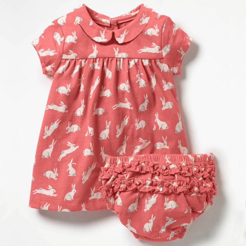 Novorozenec Dětské oblečení pro dívku 2ks Dětské vytištěné šaty s ... 89ff27f487