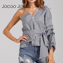 Jocoo Jolee Brand Design Off Shoulder Women Blouse One Side Butterfly Sleeves Sexy V-Neck Street Wearings with Sashes 2018 New(China)