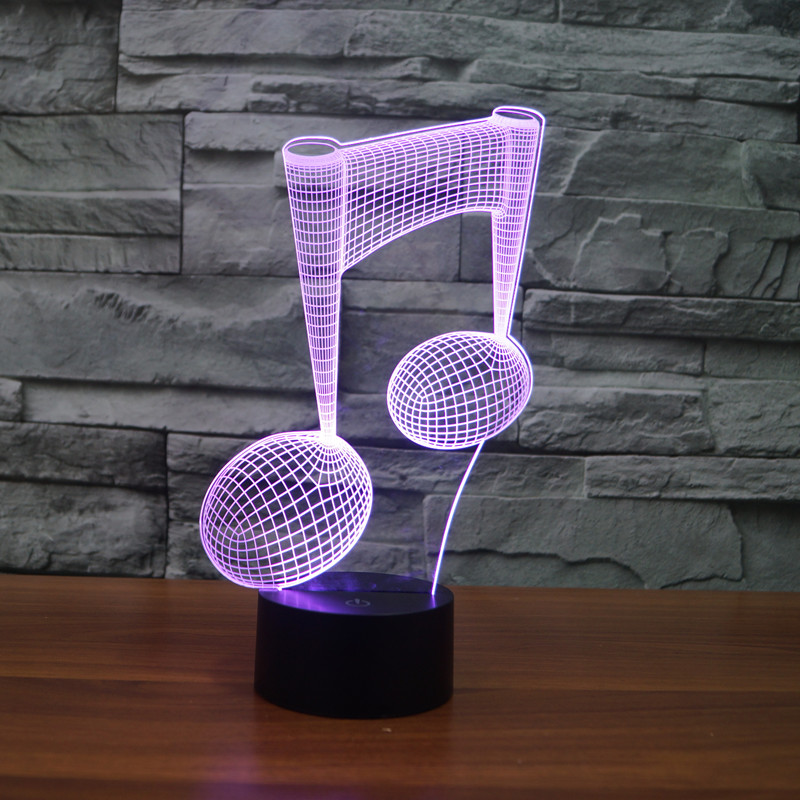 LED Light Color Change USB 3D Luminaria Music Note Night Light Baby Instrument Lamp For Usb Laptop Home Decor For Music Lovers