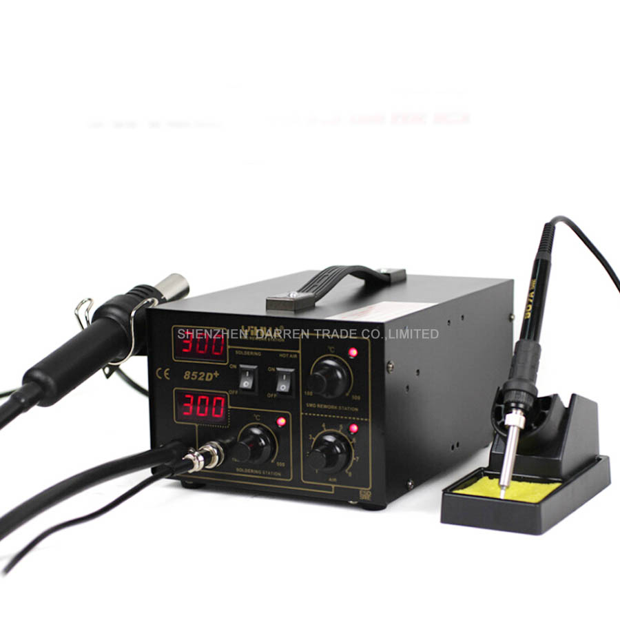110V/220V Soldering Station YIHUA-852D+ Hot Air Gun Digital Soldering Iron welding machien with the English Manual 650w 110v or 220v yihua 858d hot air desoldering station with 45w soldering iron air gun soldering station