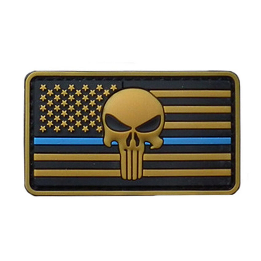 8 4 5cm the thin blue line devgru seal team punisher american flag morale military pvc patches. Black Bedroom Furniture Sets. Home Design Ideas