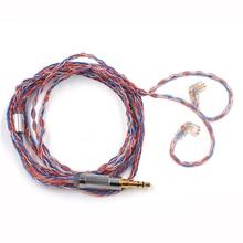 AK CCA наушники Модернизированный посеребренный медный кабель 2pin кабель для наушников KZ ZST AS10 ZS10 ZSN PRO ZS7 TRN X6 CCA A10/C10/C16