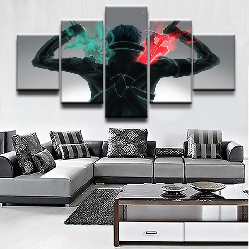 5 Pieces Anime Sword Art Online Poster Kirito Warrior Pictures Wall Painting Canvas Print Home Decor Bedroom Modern Artwork