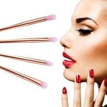 4 pcs rose gold MakeUp Brush set brand Eyeshadow eyeliner Lip makeup brush Cosmetics tool Smudge pinceis maquiagem profissional