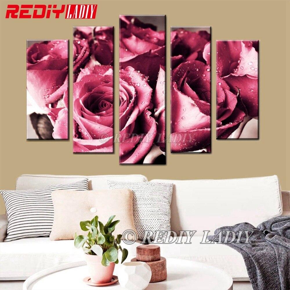 REDIY LADIY diamant broderie 5 panneaux mur Art Bouquet de Roses 5D diamant peinture triptyque mosaïque modulaire image décor à la maison