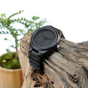 Image 5 - BOBO BIRD WH05 Brand Design Classic Ebony Wooden Mens Watch Full Wood Strap Quartz Watches Lightweight Gift for Men Carton Box