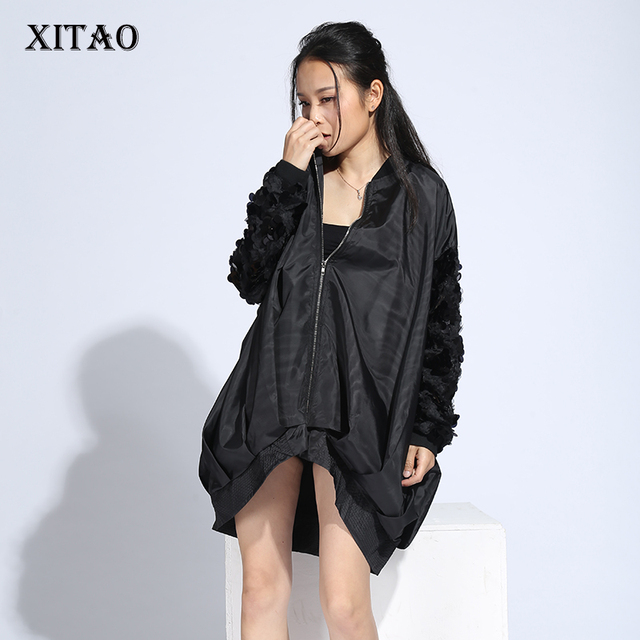 [XITAO] 2017 spring new streetwear Europe fashion female solid color sequined long-sleeved loose zipper thin trench LLB-127