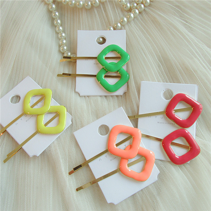 1 Pair Japanese Simple Temperament Geometric Square Hairpin Girl Women Fashion Beautiful Colorful Hair Accessories