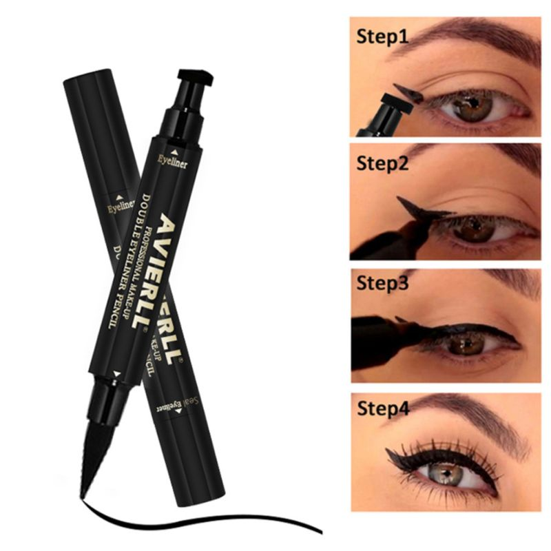 Objective New Sexy Waterproof Double Head Black Wing Shape Eyeliner Stamp Seal Eyeliner Pencil Cat Eye Cosmetic Makeup Tool Wing Style Beauty Essentials Eyeliner